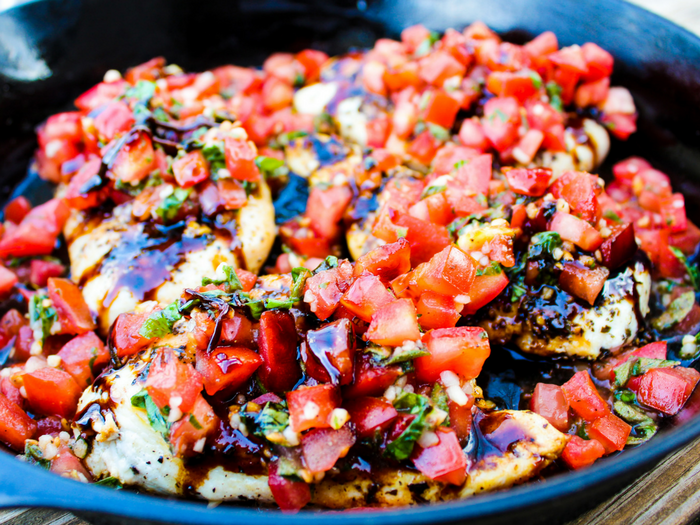 Healthy Bruschetta Chicken by The Whole Cook horizontal skillet