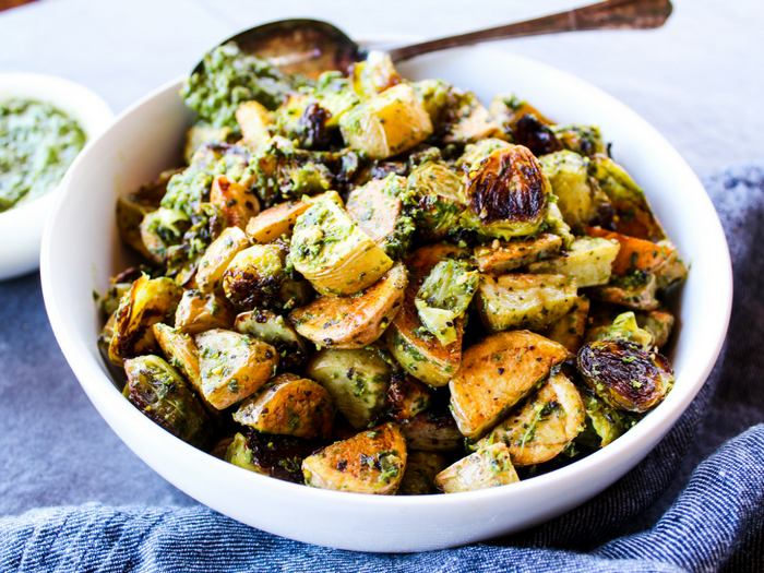 Pesto Potatoes & Brussels Sprouts by The Whole Cook horizontal side