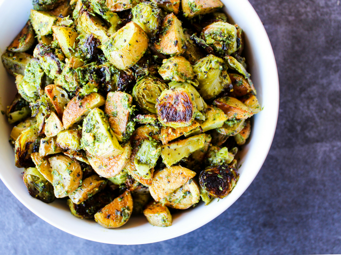 Pesto Potatoes & Brussels Sprouts by The Whole Cook horizontal(2)