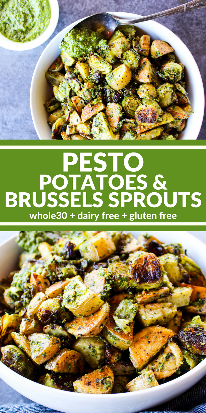 Pesto Potatoes & Brussels Sprouts are a hearty and rich side dish (or entree) that's really big on flavor. Use the homemade Pistachio Lemon Pesto to make it dairy free, gluten free, & Whole30 compliant. Oh my goodness it is incredible!