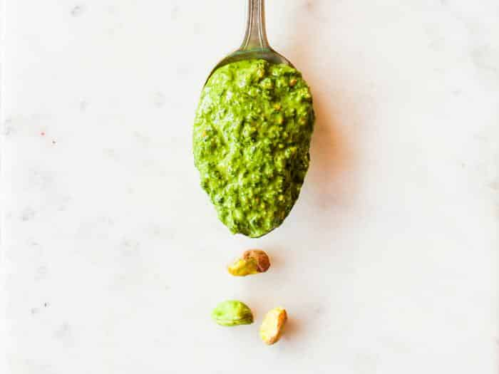 Pistachio Lemon Pesto by The Whole Cook horizontal spoon