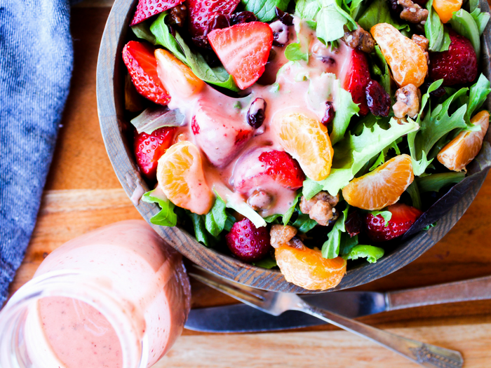Strawberry Basil Dressing by The Whole Cook horizontal overhead