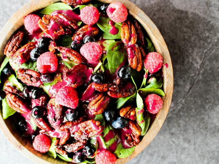 Blueberry Dressing by The Whole Cook horizontal salad with dressing