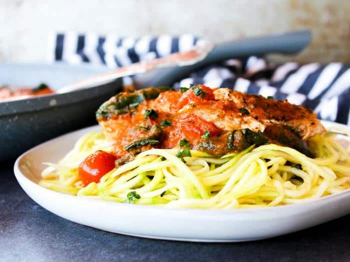 Creamy Tomato Basil Skillet Chicken by The Whole Cook horizontal with zoodles side