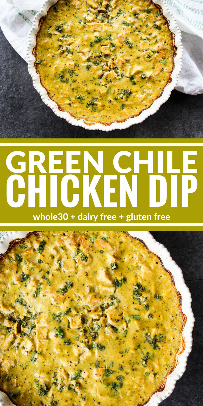 Green Chile Chicken Dip is thick, creamy, and a crowd pleaser! Enjoy it with tortilla chips, plantain chips, raw veggies, or baked potato rounds for a tasty appetizer! It's also dairy free, gluten free, and Whole30 compliant.