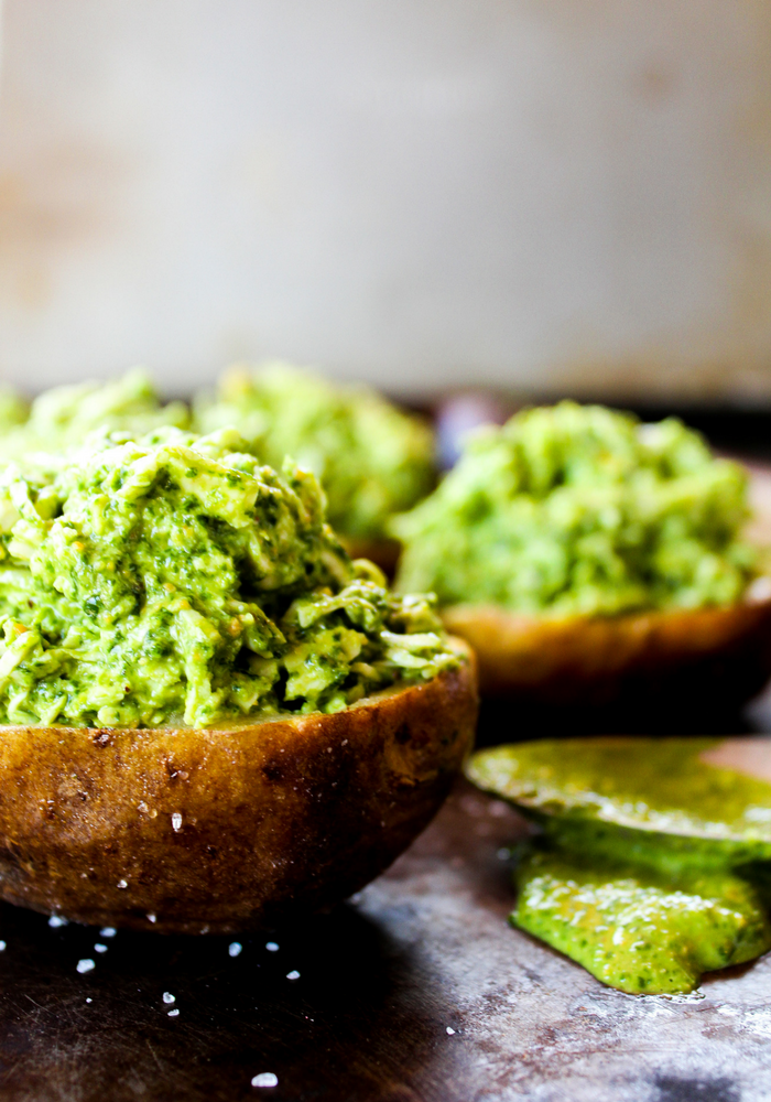 Pesto Chicken Stuffed Potatoes by The Whole Cook vertical