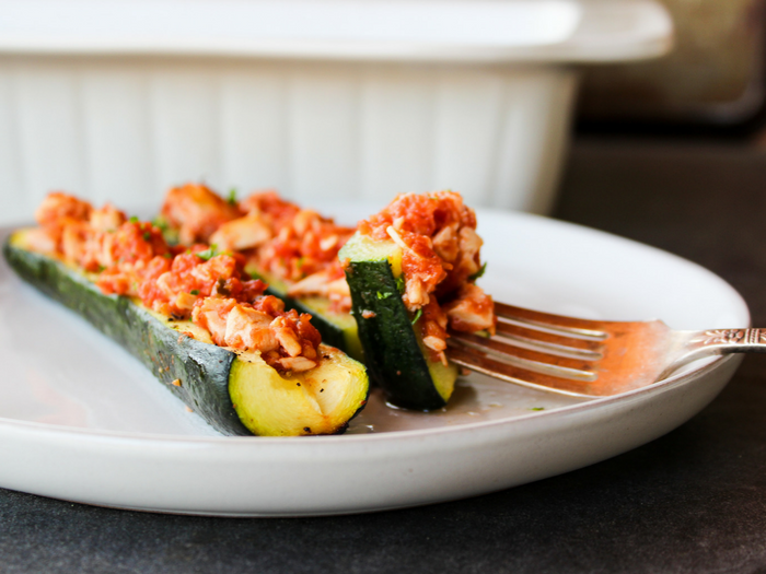 Salsa Chicken Zucchini Boats by The Whole Cook horizontal plate