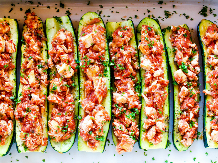 Salsa Chicken Zucchini Boats by The Whole Cook horizontal(2)