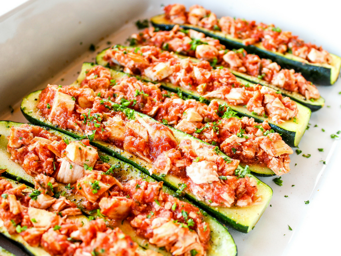 Salsa Chicken Zucchini Boats by The Whole Cook horizontal(3)