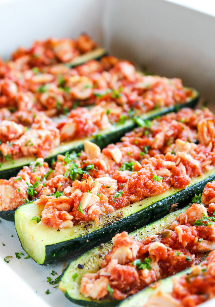 Salsa Chicken Zucchini Boats by The Whole Cook vertical