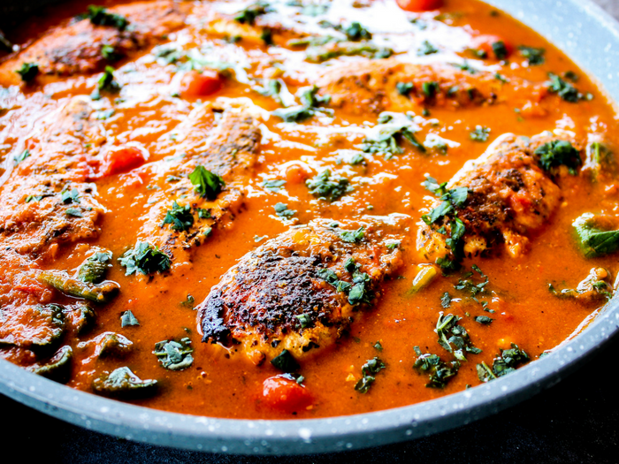 Tomato Basil Skillet Chicken by The Whole Cook horizontal side