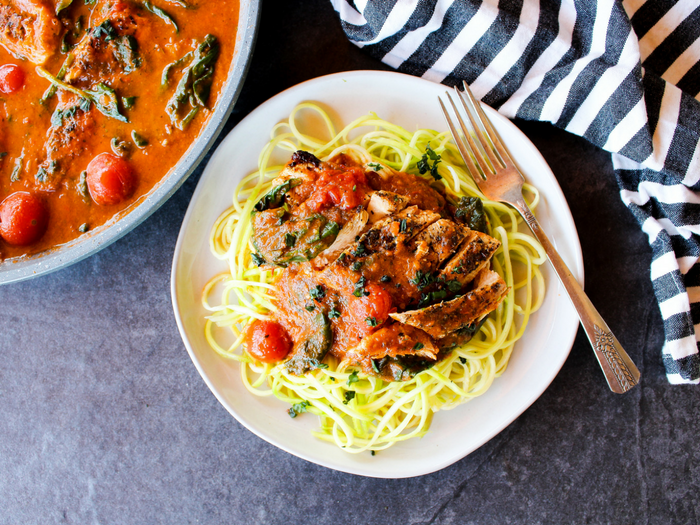 Tomato Basil Skillet Chicken by The Whole Cook horizontal with zoodles plate