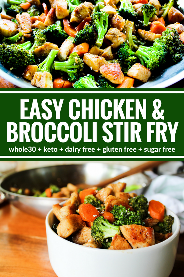 This Easy Chicken & Broccoli Stir Fry is a light and very satisfying meal the whole family will love. Plus it's Whole30, dairy free, and gluten free!
