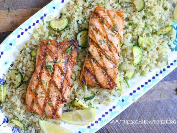 Grilled Salmon with Cauliflower Rice by The Organic Kitchen