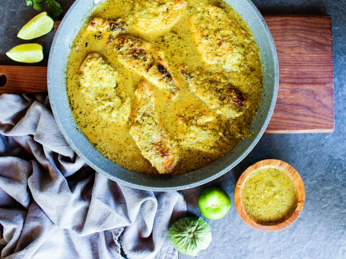 Salsa Verde Skillet Chicken in skillet by The Whole Cook horizontal