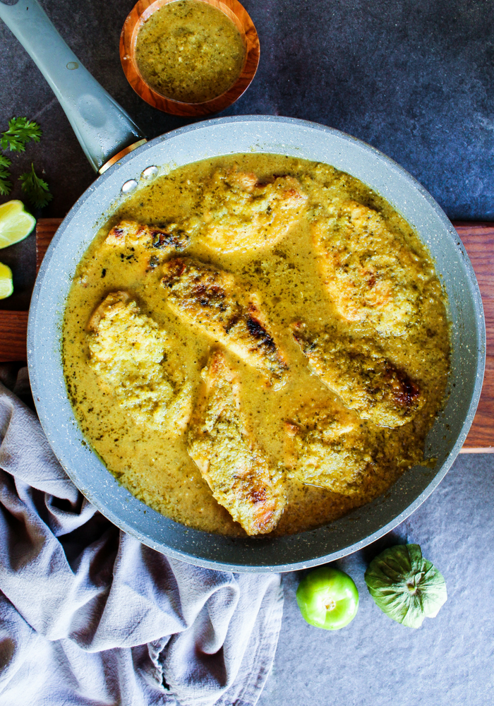 Salsa Verde Skillet Chicken vertical by The Whole Cook