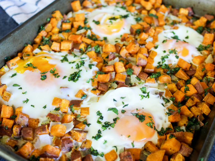 Sheet Pan Sweet Potato Hash & Eggs by The Whole Cook(1)
