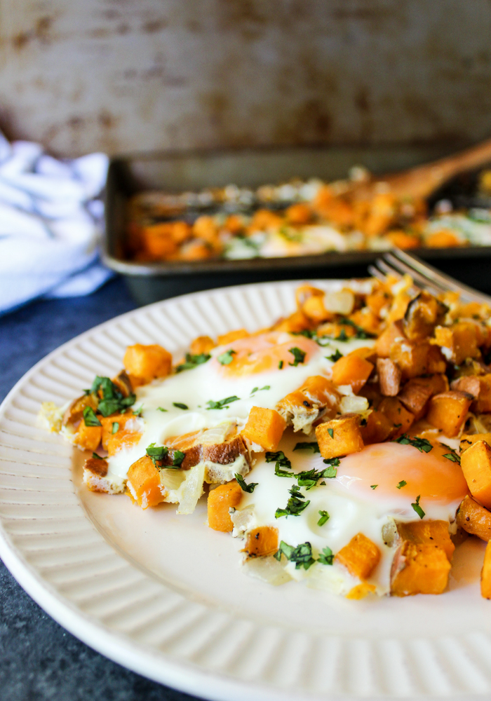 Sheet Pan Sweet Potato Hash & Eggs vertical by The Whole Cook