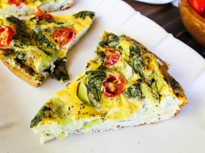 Crustless Summer Vegetable Quiche slice side horizontal by The Whole Cook