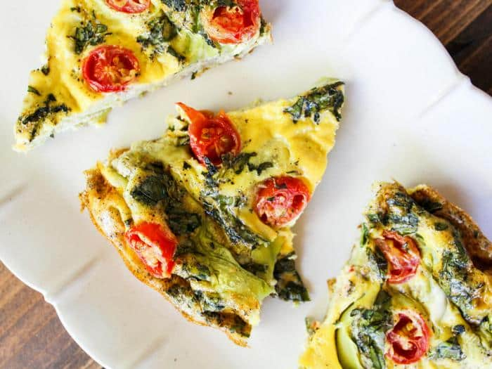 Crustless Summer Vegetable Quiche slices horizontal by The Whole Cook