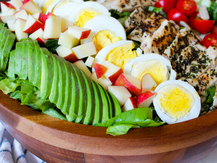 Lemon Chicken Cobb Salad horizontal by The Whole Cook avocado slices