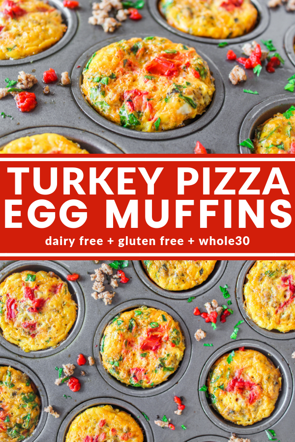 Turkey Pizza Egg Muffins are the answer to your need for a savory and healthy grab and go breakfast! Whole30, dairy free, and gluten free!