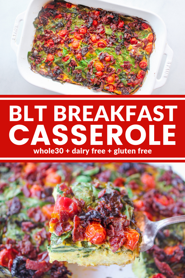 This BLT Breakfast Casserole is inspired by the classic BLT. Plus it's dairy free, gluten free, Whole30, and big enough to feed a crowd!