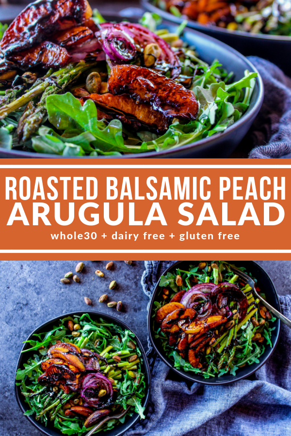This Balsamic Peach Arugula Salad is the perfect balance of sweet and savory. You can use frozen peaches so enjoy as an entree or side any time of year.