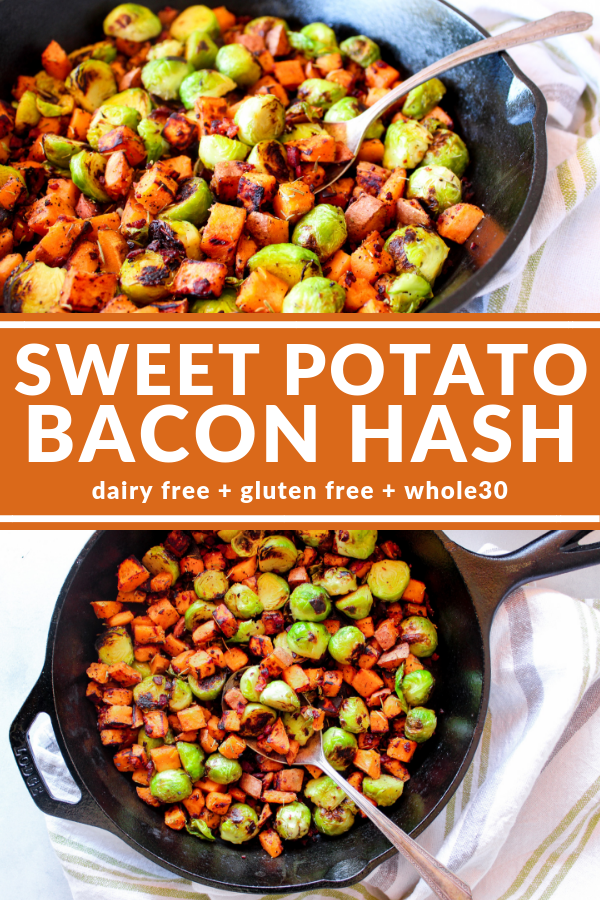 Sweet Potato Bacon Hash is an easy side dish you can enjoy with breakfast, lunch, or dinner! Sweet potato, bacon, and brussels sprouts... what's not to love?
