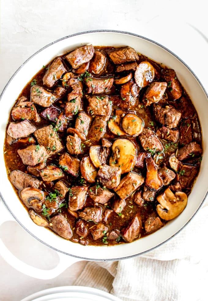 Skillet Mushroom Steak Bites The Whole Cook